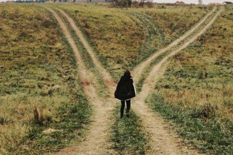 Man walk alone in the farm